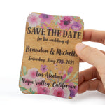Personalized Painted Wood Save The Date Fridge Magnet with Cards and Envelopes for Rustic Wedding