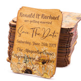 Personalized Painted Wood Save the Date Fridge Magnet for Rustic Wedding