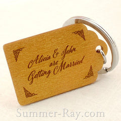 Personalized Engraved Gold Wooden Save the Date Key Chain