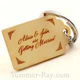 Personalized Engraved Natural Wooden Save the Date Key Chain