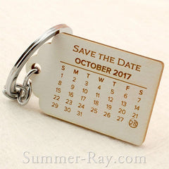 Personalized Engraved White Wooden Save the Date Key Chain