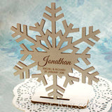 Personalized White Wooden Snowflake Place Card