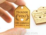 Personalized Gold Wooden Engraved Miniature Wedding Favor Gift Tags with Twine