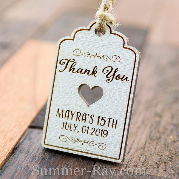 Personalized White Wooden Engraved Miniature Wedding Favor Gift Tags