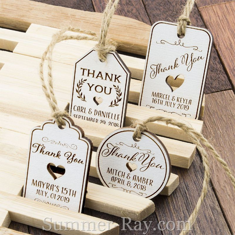 Personalized White Wooden Engraved Miniature Wedding Favor