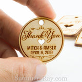 Personalized Unfinished Wooden Engraved Miniature Wedding Favor Gift Tags with Twine