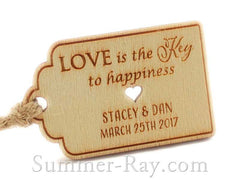 Personalized Wooden Engraved Miniature Royale Wedding Favor Gift Tags with Twine