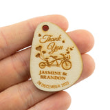 Personalized Wooden Tandem Bike Theme Wedding/Bridal Shower Thank You Favor Gift Tags