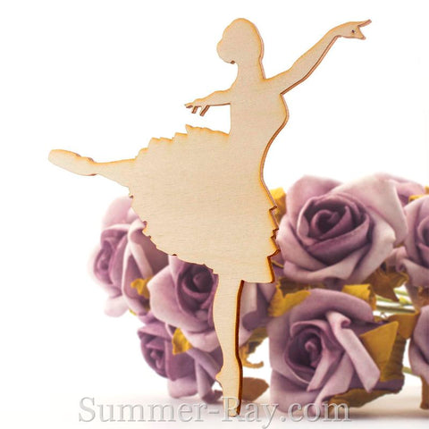Laser Cut Out Wooden Arabesque Pose Ballerina
