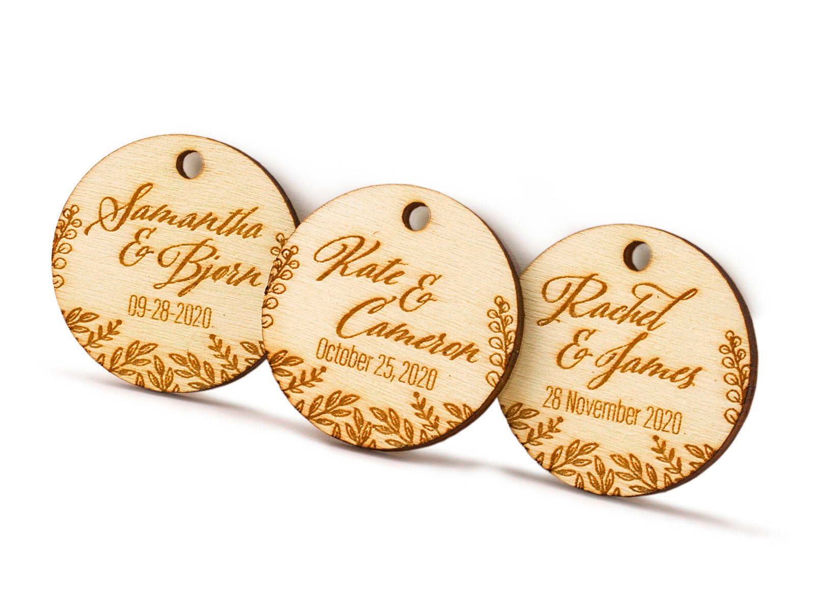 Personalized Laser Engraved Wooden Mini Round Wedding Favor Gift Tags