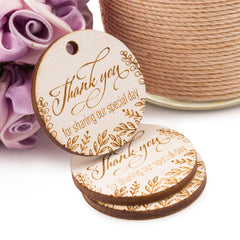 Laser Engraved Wooden Mini Wedding Favor Gift Tags Thank You for Sharing Our Special Day