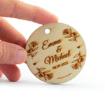 Round Wooden Personalized Wedding Favors Tags Thank You Tags