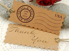 Personalized Kraft Postage Stamp Gift Tags / Favor Tags with Twine