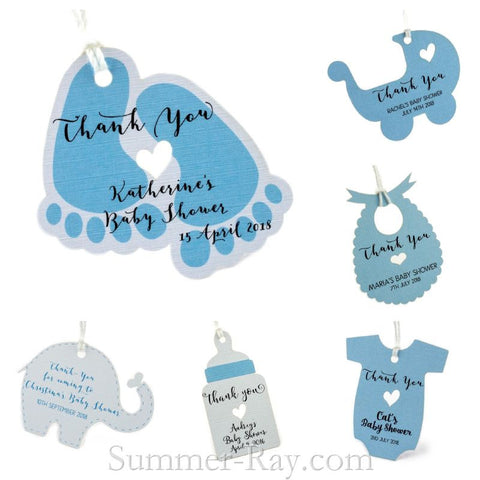 Personalized Blue Baby Shower Favor Tags / Gift Tags