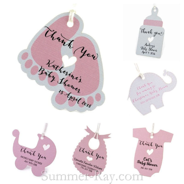 Personalized Pink Baby Shower Favor Tags Gift Tags Summer Ray