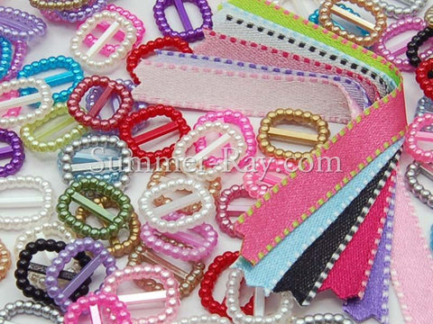 200 Buckles Ribbon Sliders & Stitch Satin Ribbons Convenient Pack