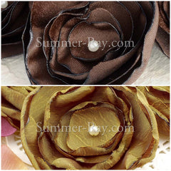Fabric Embellishment - Handmade Burnt Edge Flower 4 pieces