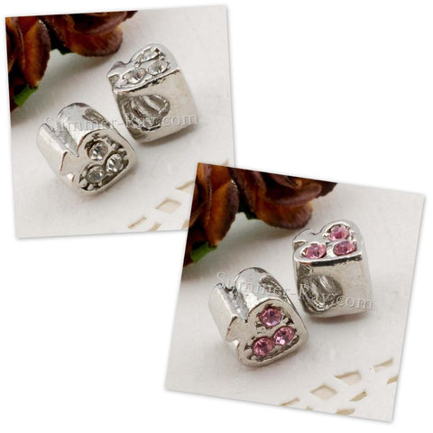 Center Threaded Spacer Heart Beads