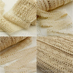 Fabric Embellishment Beige Cotton Crochet Lace Trim - 1 or 5 yards