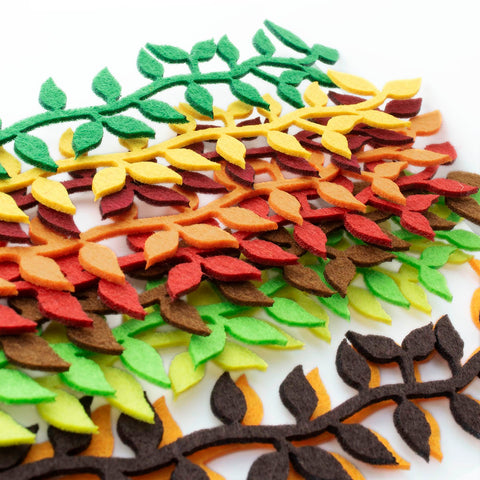 Mixed Colors 2mm Felt Vine Leaves Value Pack for DIY Craft