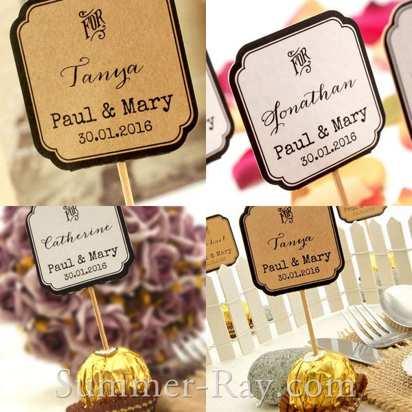 Diy Personalized Double Sided Wedding Cupcake Toppers Quot For