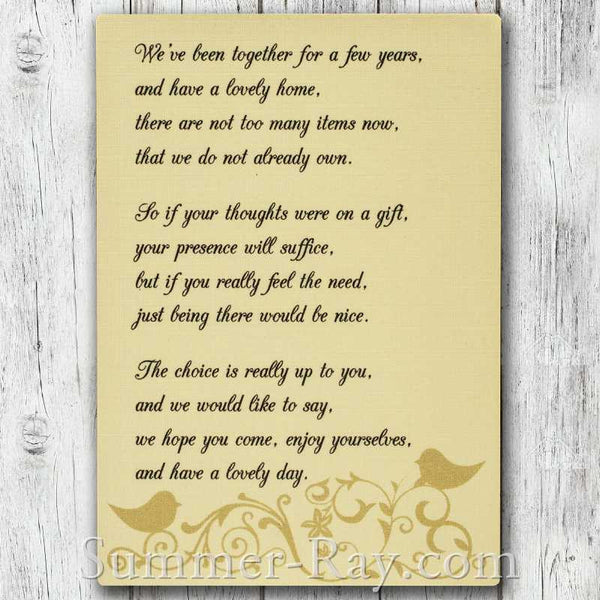Wedding Gift Poem Invitation Insert Cards Summer Ray Com