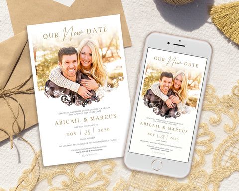 [Digital File] Save Our New Date Wedding and Event Postponement Card