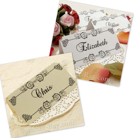 Personalized Damask Place Card - 12 to 120 pieces