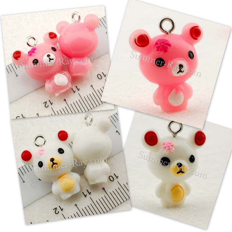 Cabochon Resin Teddy Bear with Eye Bolt