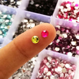Rhinestones 4mm Mixed Color in Storage Box - 4500 pieces
