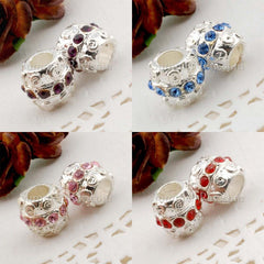 Rhinestone Studded Metal Bead Bauble - 2 or 10 pieces