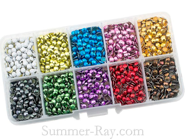 Hot Fix Rhinestuds SS16 (4 mm) Mixed Color in Storage Box - 7200 pieces