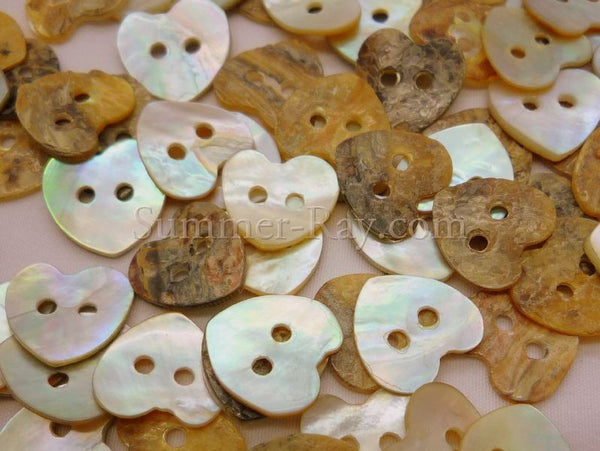 Seashell Buttons - Heart 50 pieces