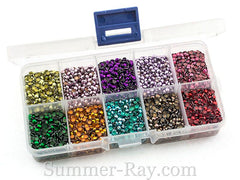 Hot Fix Rhinestuds SS10 (2.8 mm) Mixed Color in Storage Box - 10080 pieces