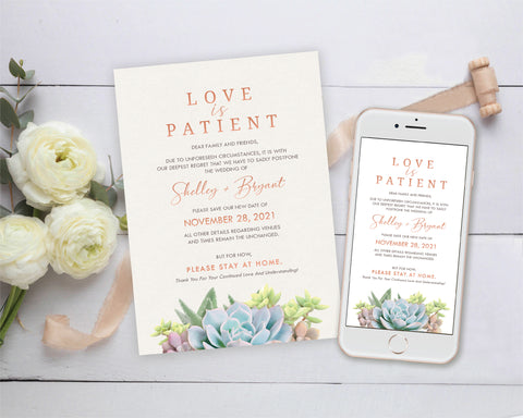 [Digital File] Love is Patient Wedding and Event Postponement Announcement, Save Our New Date Card.