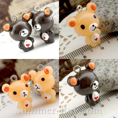 Cabochon Resin Teddy Bear with Heart and Eye Bolt