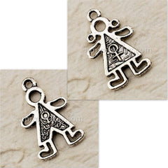 Tibetan Silver Little Boy/Girl Charm Pendant