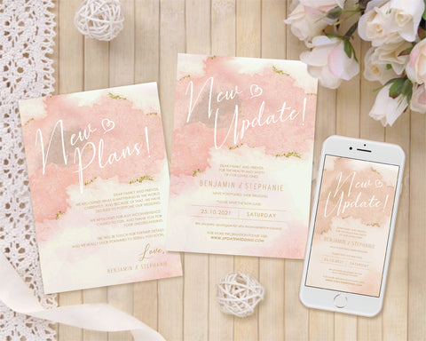 [Digital File] New Plans & Update Save Out New Date Wedding and Event Postponement Card