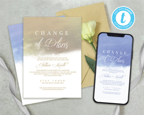 [Digital File] Change of Plans Watercolor Themed Wedding and Event Postponement Card