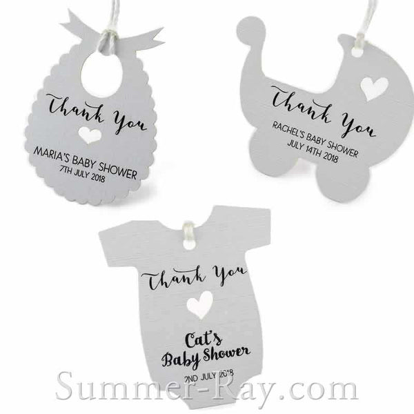 Personalized White Baby Shower Favor Tags Gift Tags