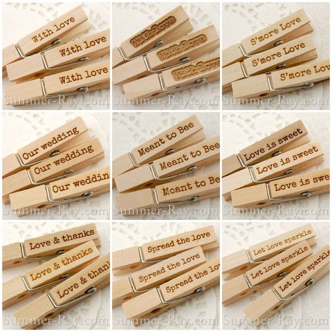Wooden Peg Engraved Love Theme - 50 or 100 pieces