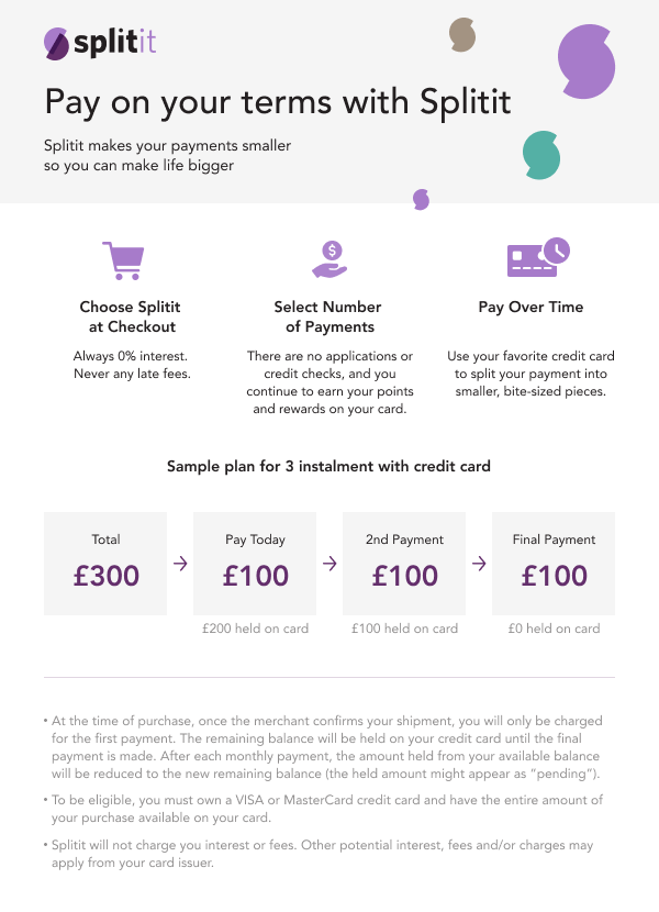 Split the cost for free with Splitit