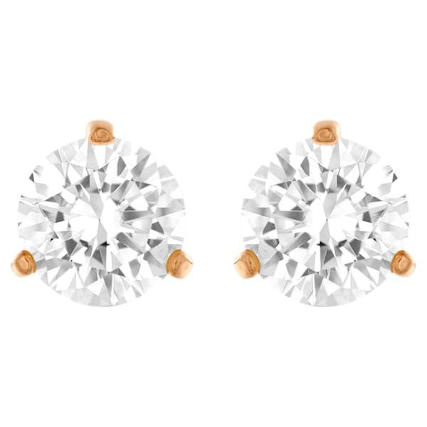 stud studs rounbd gold earrings white diamond solitaire