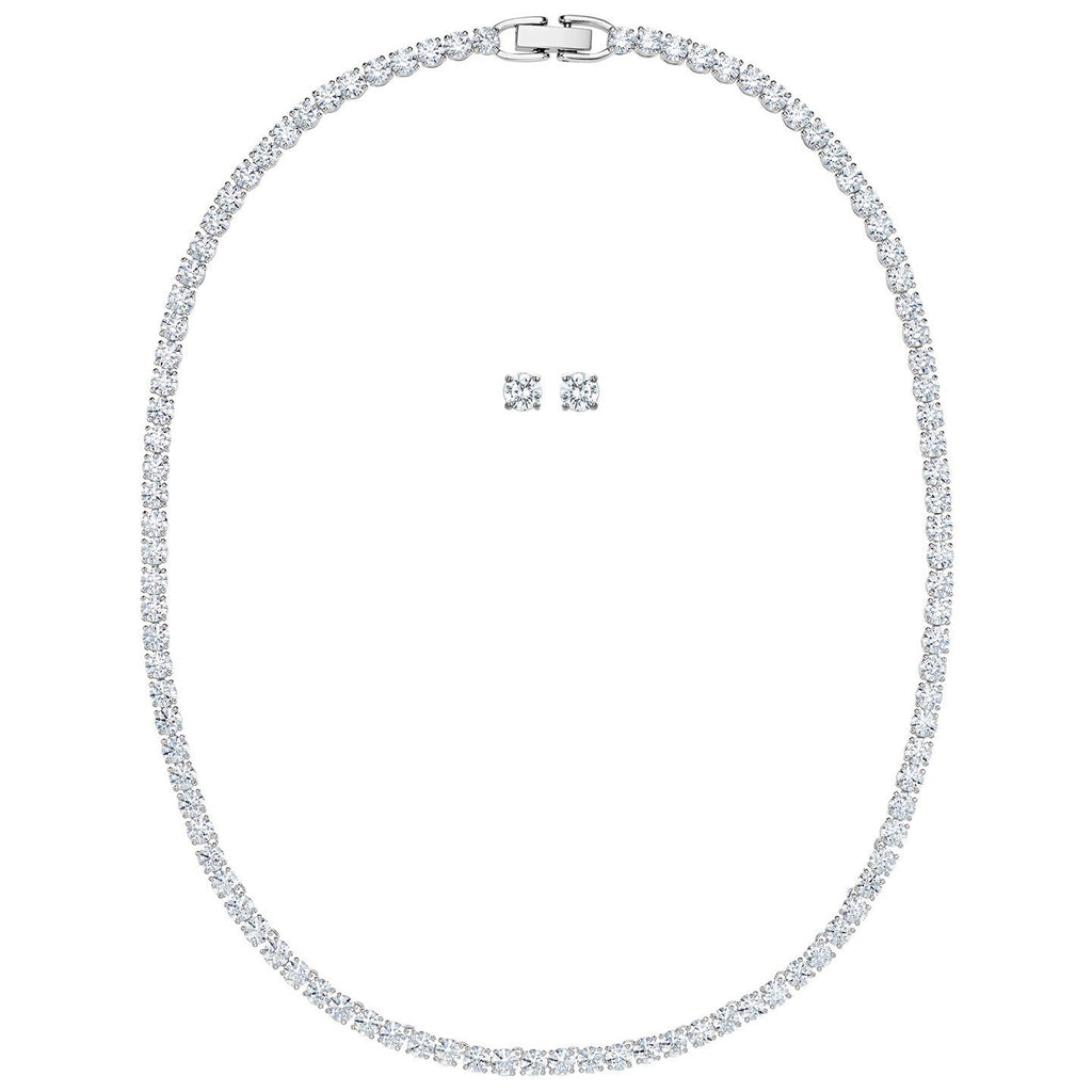 Swarovski Tennis Deluxe Set, White, Rhodium Plated, 5506861