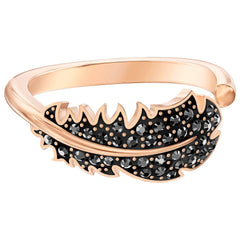 Swarovski Naughty Motif Ring, Black, Rose-gold tone plated, Size 58, 5509681