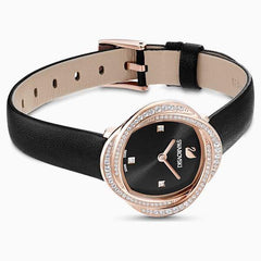 Swarovski Crystal Flower Watch, Leather strap, Black, Rose-gold tone PVD, 5552421