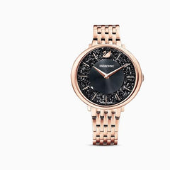 Swarovski Crystalline Chic Watch, Metal bracelet, Black, Rose-gold tone PVD, 5544587