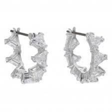 Swarovski Bella Pierced Earrings, White, Rhodium plating, 883551