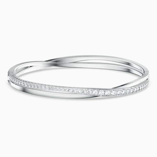 Swarovski Twist Rows Bangle, White, Rhodium Plated, Large, 5572726