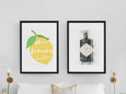 "Woolly Mammoth Media 16x12"" / Black Gin Bottle Life Gives you Lemons Make Gin set of 2 wall art prints"